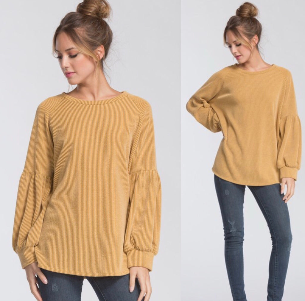 Sidewalk Side Statement Sleeve Sweatshirt - Golden