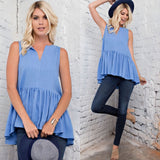 City Chic Tank - Blue