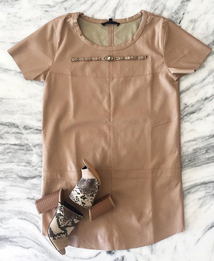 Luxe Leatherette Shift Dress - Camel