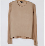 Camel Leather Front Lightweight Sweater