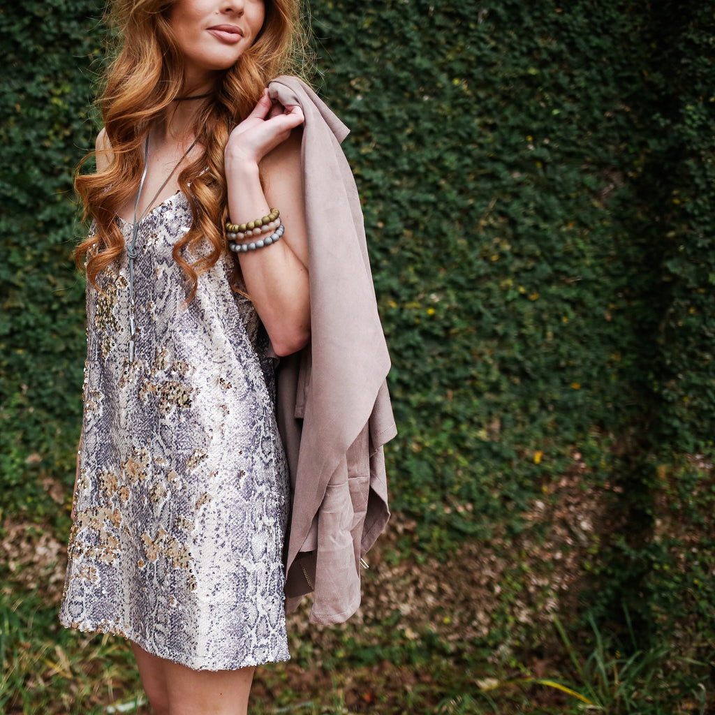 A Night Out Snake Sequin Dress
