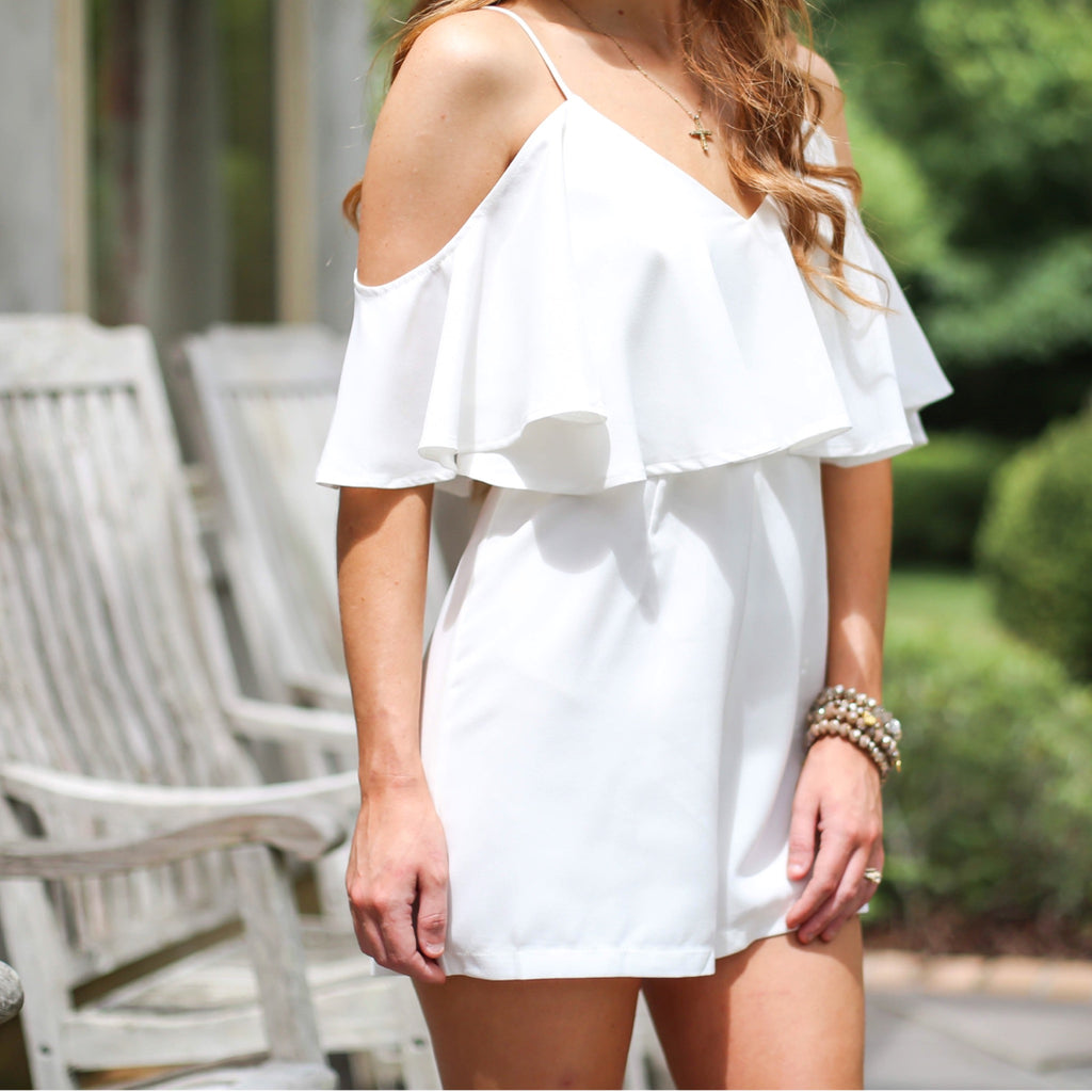 Flutter and Flounce Romper - White