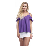 Mixer Open Shoulder Top in Tiger Purple by BuddyLove