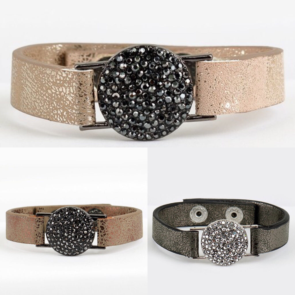 Phoenix Pave Leather Cuff - 3 colors