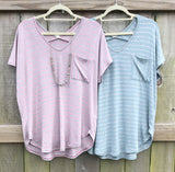 Premium Pocketed Striped Tees - 2 Colors