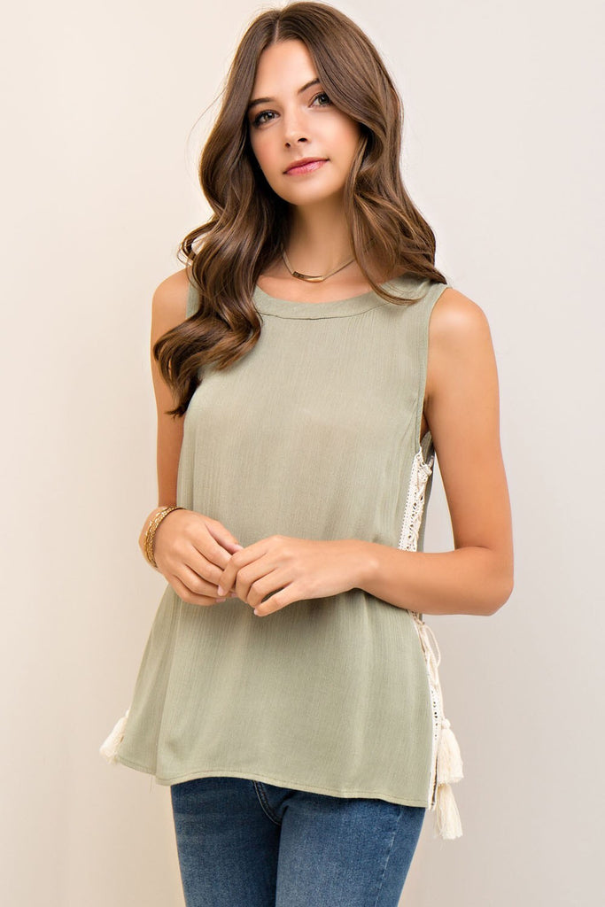 Side Sass Crochet Tank - Light Olive