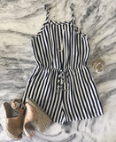Seeing Stripes Romper by STR - Navy/White Combo