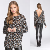 Leopard Low Back Twist Top