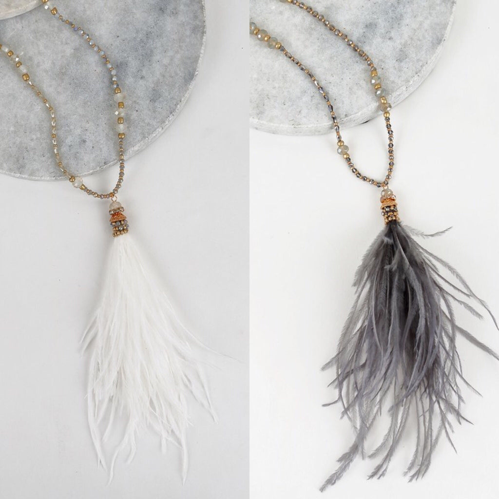 Flirty Feather Necklace - 2 colors