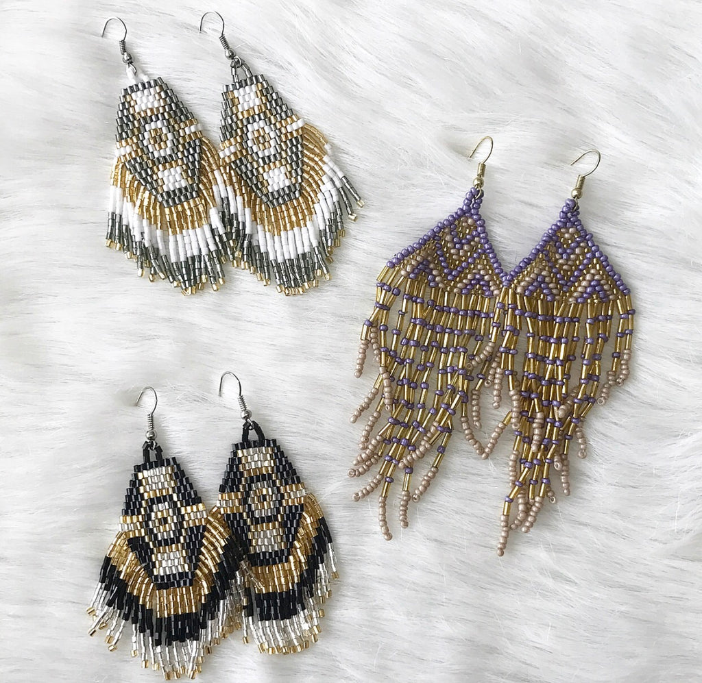Boho Beaded Gameday Earrings