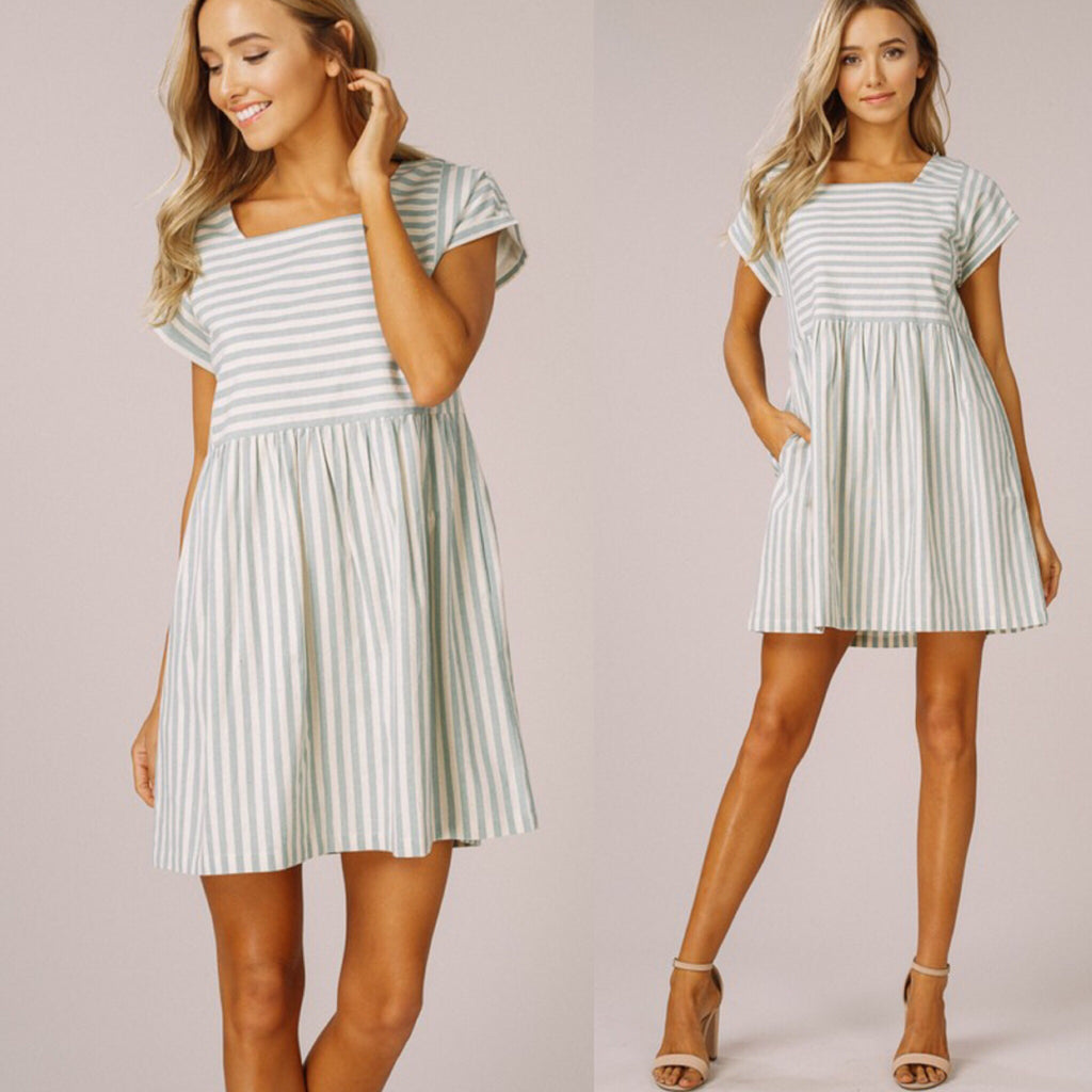 Candy Striped Dress - Sage Combo