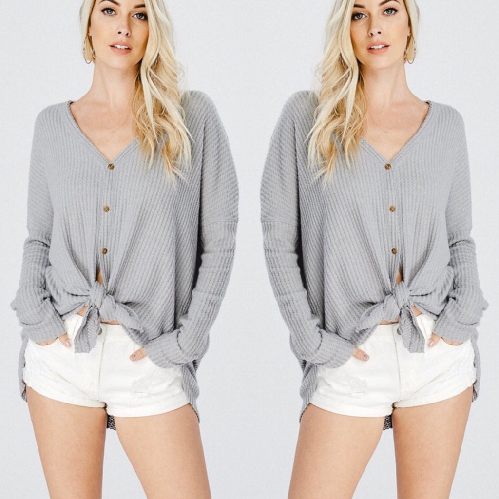 Button Me Up Blogger Babe Top - Slate Grey