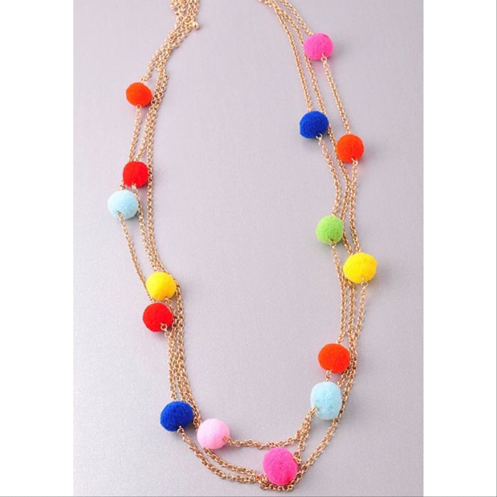 Chain and Pom Layering Necklace