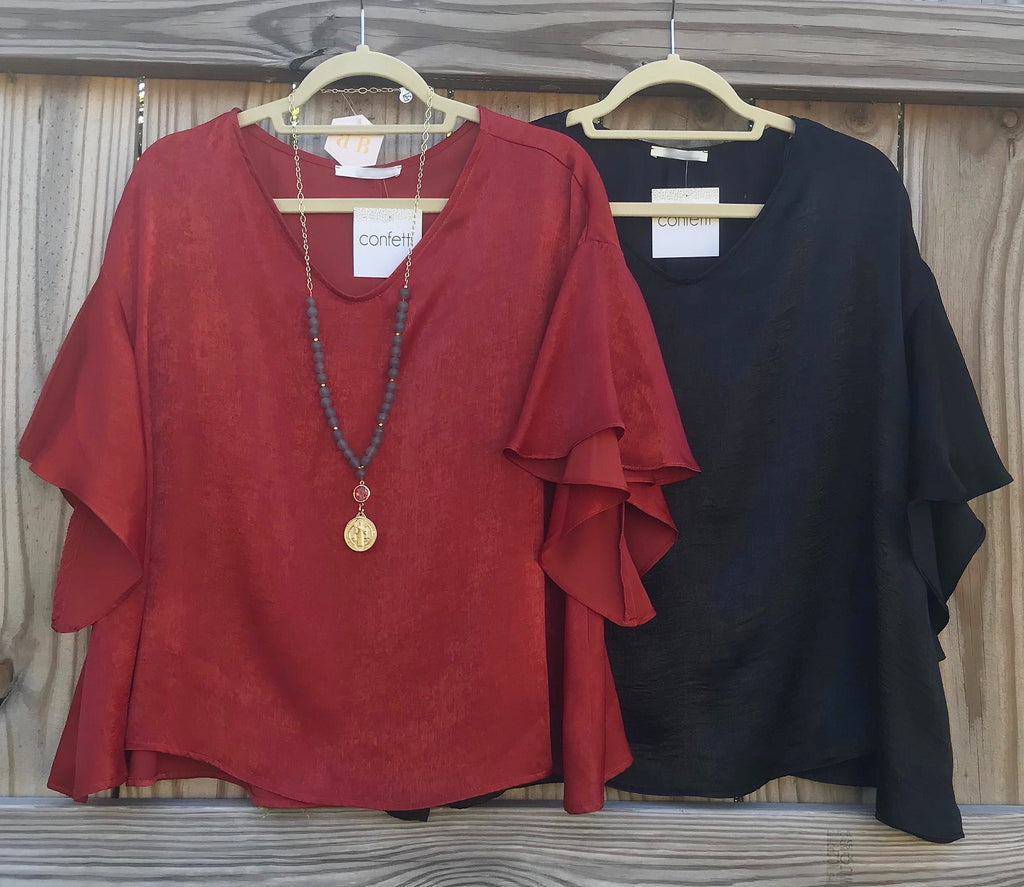 Statement Sleeve Silk Top - 2 colors