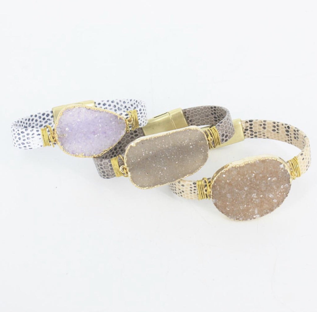 Lizard Druzy Leather Cuff by Virtue