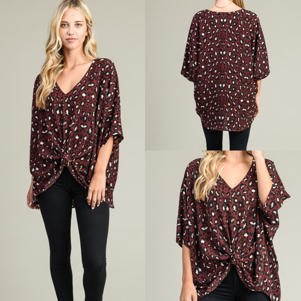 Look My Way Leopard Top in Wine