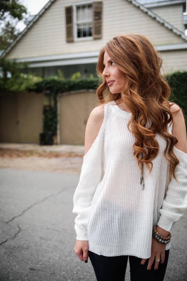 Cold Shoulder Sweater in Winter White