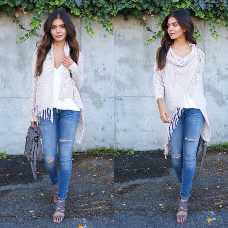 Fringe multi wear cardigan