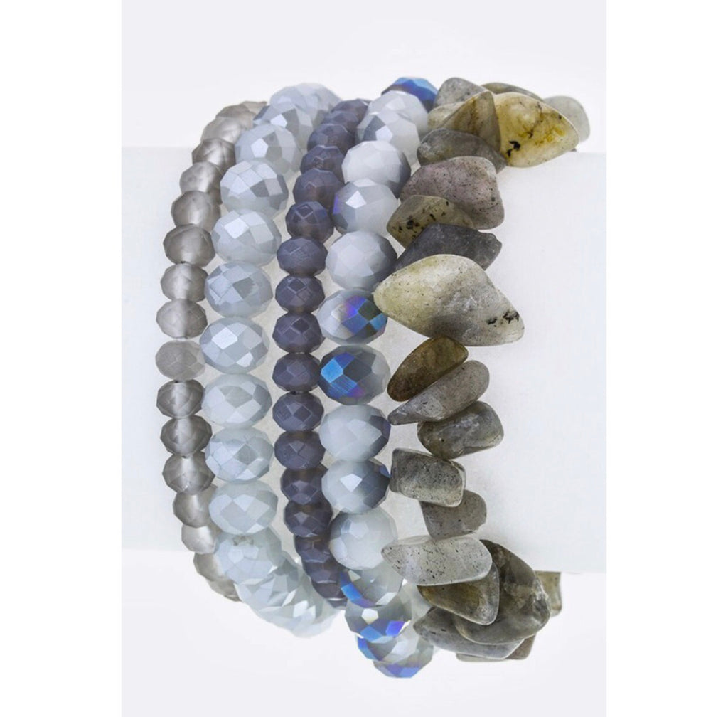 Shades of Grey Bracelet Stack