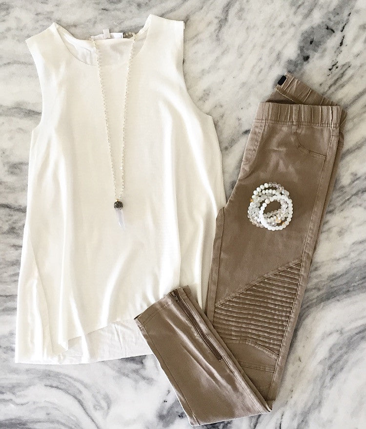 Leather Front Lizard Tank - White