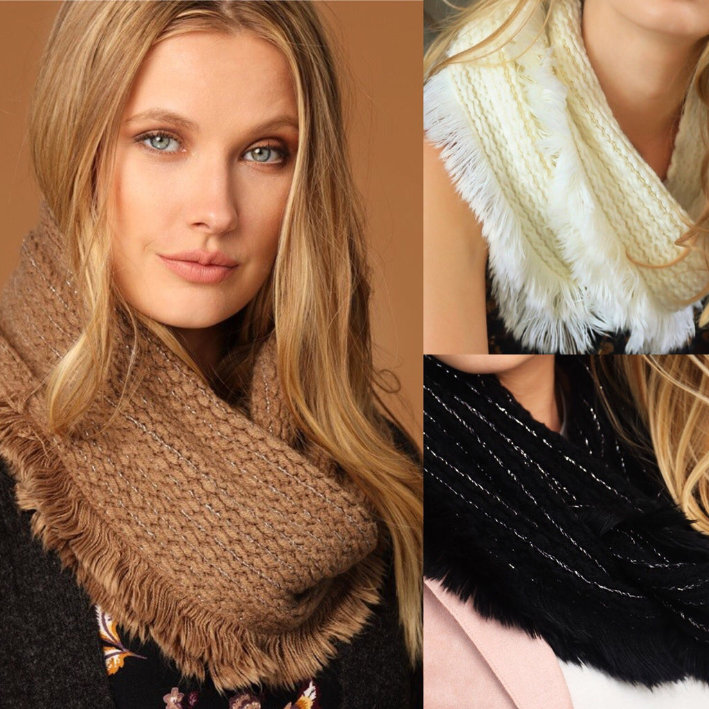 Fur Trimmed Scarf - 3 colors