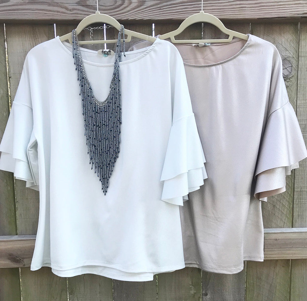 Statement Sleeve Shimmer Top - 2 colors