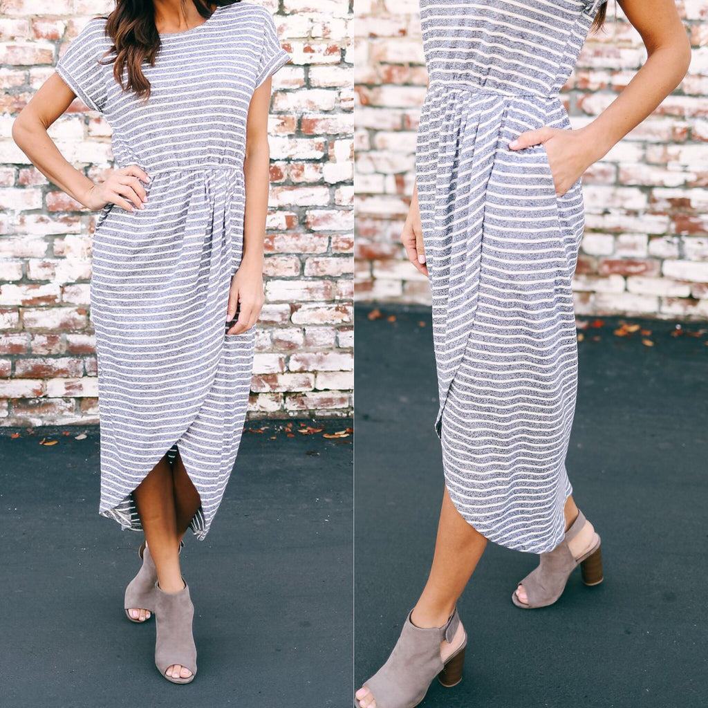 Tulip Striped Midi Dress - Navy Combo