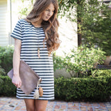striped mini tee dress - 2 colors