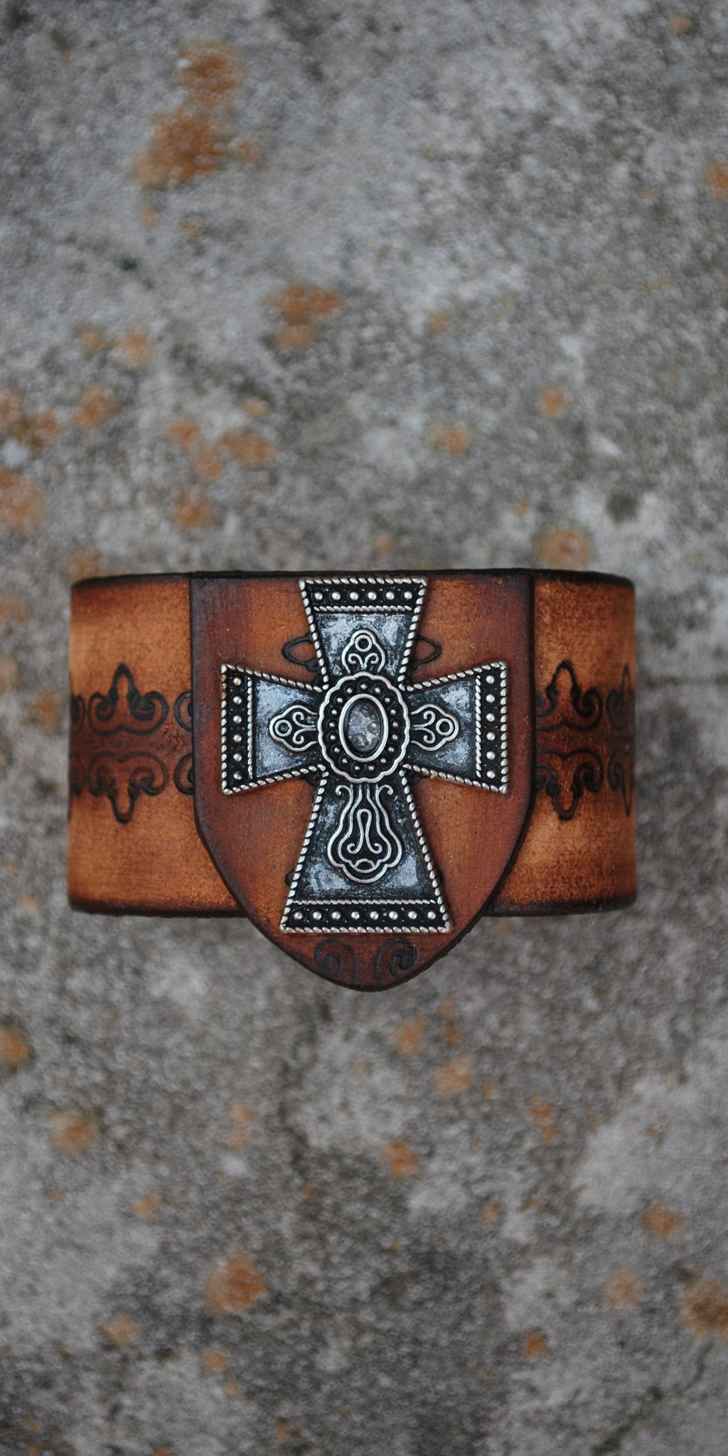 Celtic Cross Brown Leather Cuff