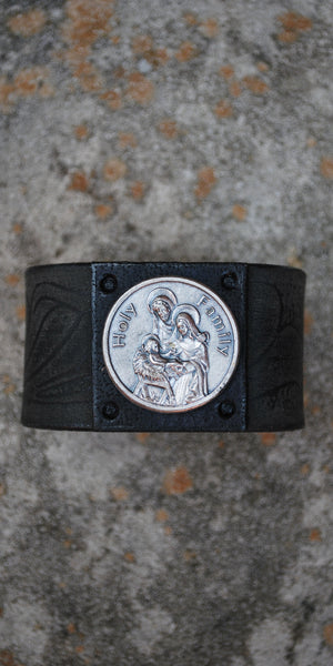 Holy Family Black Leather Cuff