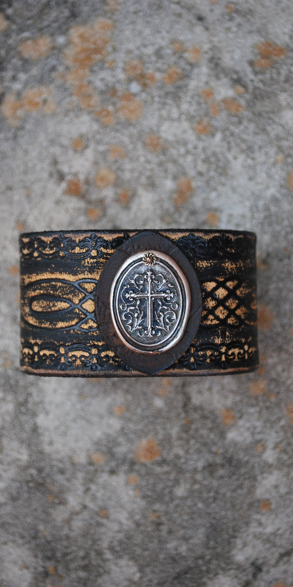 Cross Coin Black Leather Cuff