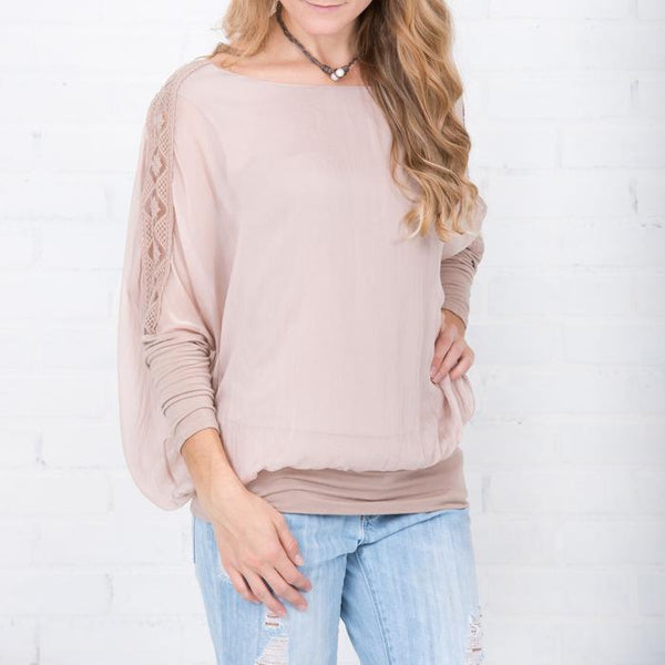 SILK BANDED BLOUSE W/LACE