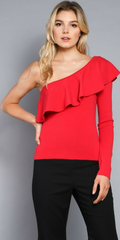 RED ONE SHOULDER TOP