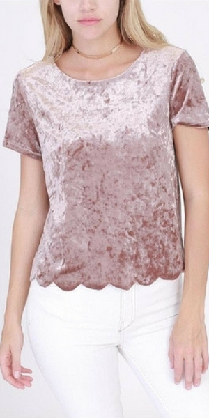 SCALLOPED VELVET TOP
