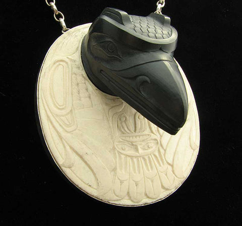 Argillite Raven and the First Man Pendant