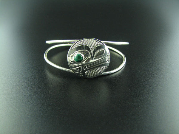 Frog Silver and Malachite Plaque Bracelet
