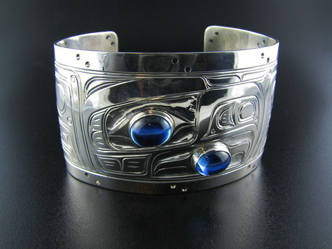 Large Eagle Silver and Topaz Bracelet