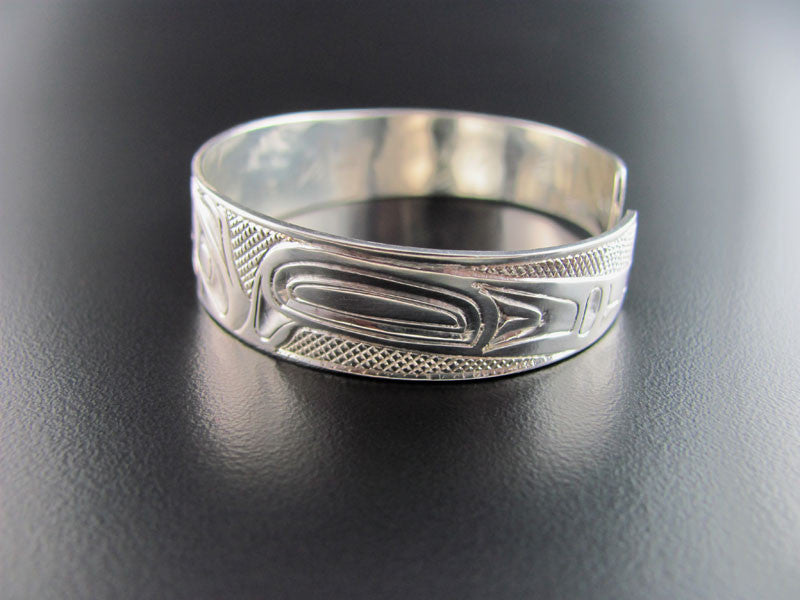 Haida Eagle and Raven Silver 1/2 inch Bracelet