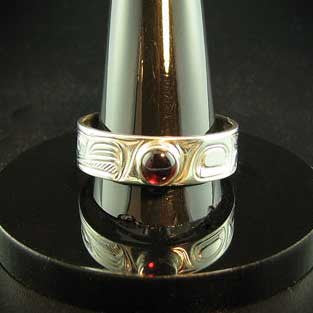 Silver and Garnet Eagle Sporty Style Ring