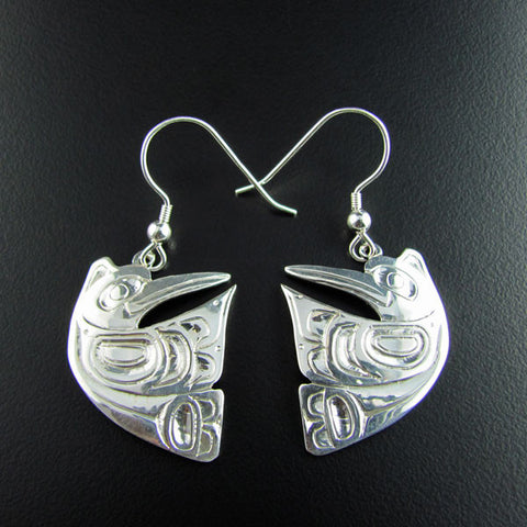 Haida Hummingbird Silver Earrings