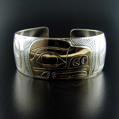 Raven Silver and Gold 1 Inch Bracelet