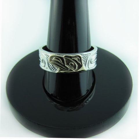 Haida Raven Gold Silver 1/4 inch wide Ring