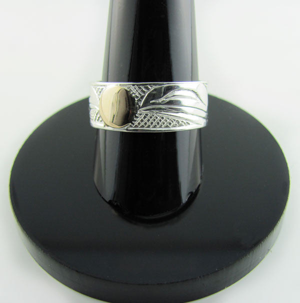 Haida Raven Steals the Moon Ring in Silver and Gold