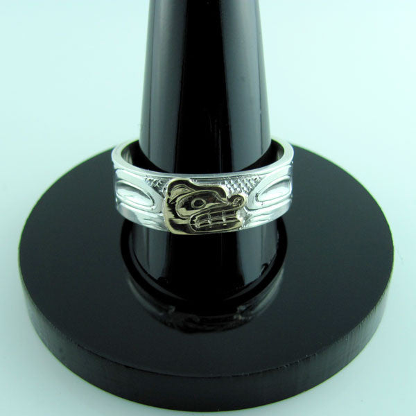 Haida Bear Gold Silver 1/4 inch wide Ring