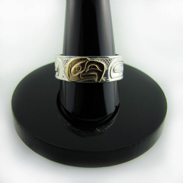 Haida Eagle Gold Silver 1/4 inch wide Ring