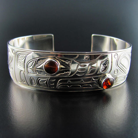 Wolf Silver 3/4 Inch Bracelet with Amber