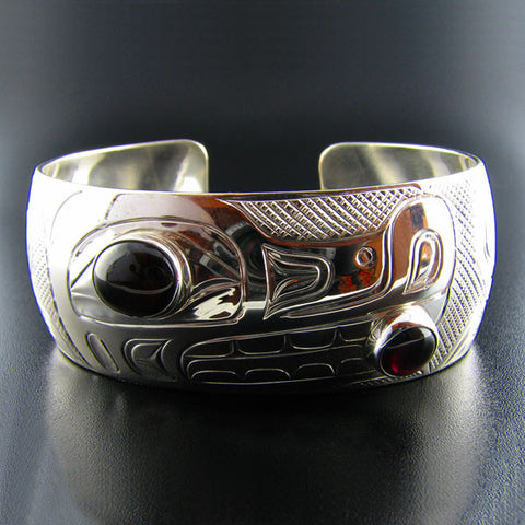 Silver Wolf Bracelet with Garnets