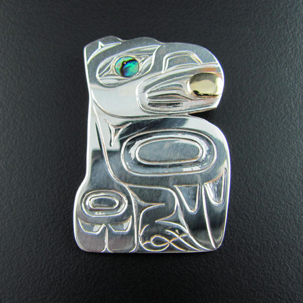 Haida Silver and Gold Raven Free's the Moon Pendant