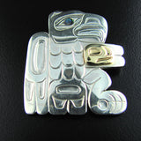 Haida Silver Abalone and Gold Eagle Pendant