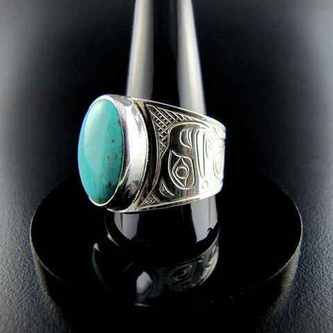 Large Silver and Turquoise Signet Ring